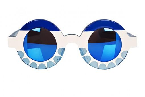 LK x Michael van der Ham, Sonnenbrille , Blau /  Elfenbein